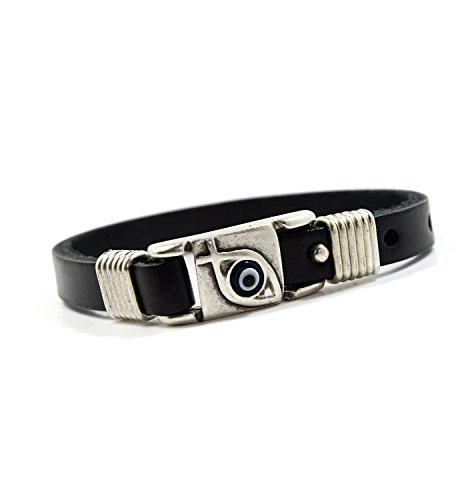 (Jesus Fish & Evil Eye Protection Leather Charm Bracelet in Black for Men)