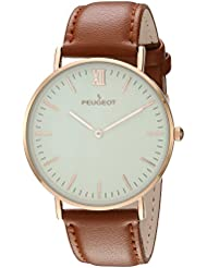Peugeot Super Slim 14K Rose Gold Plated Brown Genuine Leather Band Sheffield Watch 2050RG