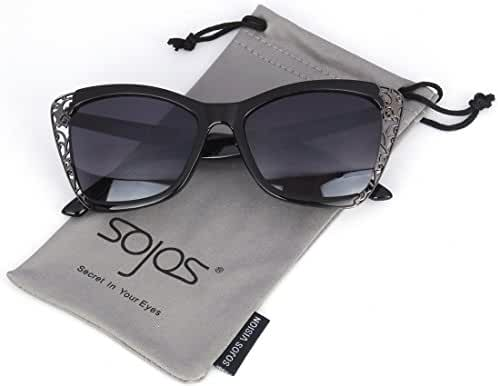 SojoS Fashion Metal Cut Out Hollow Out Frame Cat Eye Womens Sunglasses SJ2018