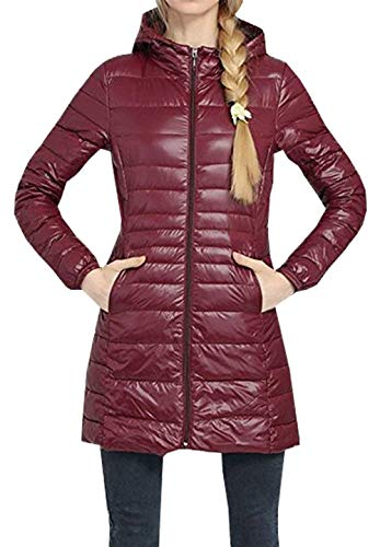 Da Winered Manica Camice Cappuccio Slim Sportiva Fashion Calda Young Leggero Jacket Donna Down Cerniera Targogo Fit Lunga Laterali Con Tuta Tasche Unita Tinta Br4q4d