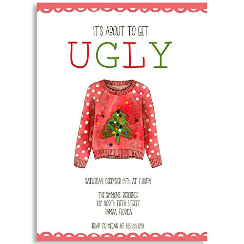 Christmas Party Invitations, Ugly Christmas Sweater Party, Bout to Get Ugly, White, Red, Green, Polka Dots, Holiday Party, Christmas, Set of 10 Custom Printed Invites with Envelopes ()