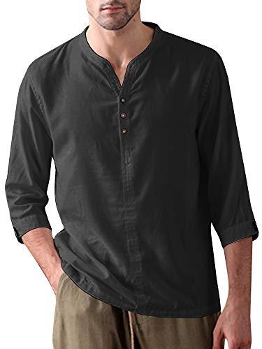 Mens Linen Henley Shirt Casual 3/4 Sleeve T Shirt Pullover Tees V Neck Curved Hem Cotton Shirts Beach Tops (XX-Large, B-Black)