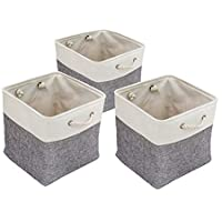3Pack Foldable Storage Bin 13 x 13 x 13, YEESON Collapsible Storage Basket Cube Organizer Bins with Handles for Linens…
