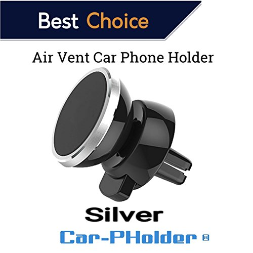 Magnetic Phone Car Air Vent Mount Holder Universal 360 Rotation Stand Metal Mobile Phone for Car Dashboard Mount for iPhone Samsung Android Smartphones GPS [Silver] Set kit Pack CAR-PHOLDER