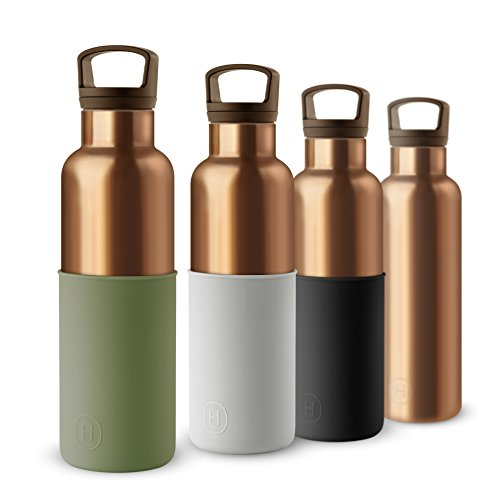 HYDY Vacuum Insulated Thermal Water Bottle 20 oz - BPA Free Stainless Steel - Eco Friendly - Ideal for Exercise, the Office and Travel - Modern Stylish Urban Design (BRONZE GOLD-SEAWEED GREEN)