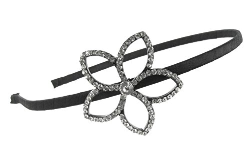 Five Petal Flower Outline Rhinestone Fabric Wrapped Headband with Clear Crystals