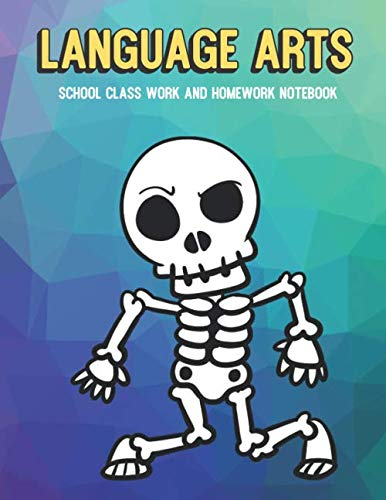 Language Arts School Class Work And Homework Notebook: Black White Halloween Skeleton Dancing, Purple Pink Blue Pixel Background Design ()