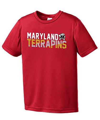 Maryland Golf Shirts (NCAA Maryland Terrapins Youth Boys Diagonal Short sleeve Polyester Competitor T-Shirt, Youth Large,Red)