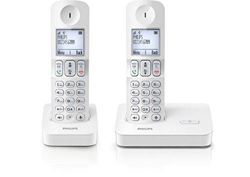 Téléphone fixe PHILIPS D4002W BLANC DUO SANS REPONDEUR