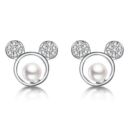 SLUYNZ 925 Sterling Silver Sparkling CZ Mouse Studs Earrings for Women Teen girls Cute Earrings ()