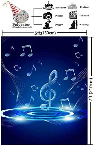 GESEN 5x7ft Blue Background Shiny Music Symbol Photography Backdrop for Pictures Themed Party Background Photo Booth Studio Props LXGE428
