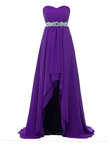 Asymmetric Bridesmaid Women's Chiffon Pleated Party Purple DYS Dresses Gowns Sweetheart 567EOq4wx4