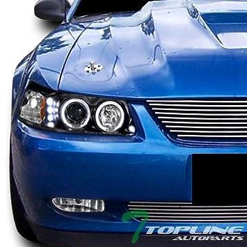 Topline autopart Negro cabeza de Halo Proyector de luces LED DRL Señal am JY W/Antiniebla PT 99 - 04 Mustang: Amazon.es: Coche y moto
