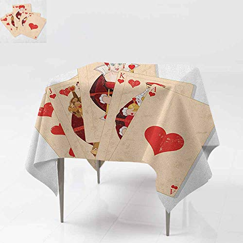 Square Table Cloth,in Wonderland,Crown Gambler Queen Hearts Royal Fairy Flush Face Magic Theme,Dinner Picnic Table Cloth Home Decoration,50x50 InchBrown Red and Ecru