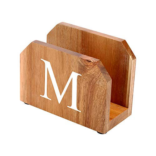 Acacia Wood Napkin Holder Paper Napkin Holder for Kitchen Tables and Counter Tops Customizable with Name Personalized Gifts Vintage Modern Decoration (Monogram -