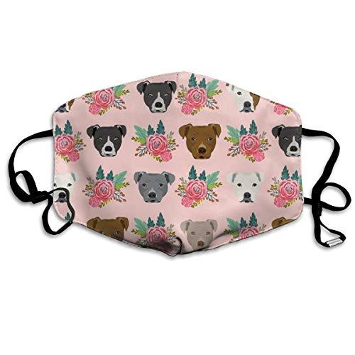 Pitbull Floral Head Design Pitbulls Floral Dog Head Anti Dust Mask Anti Pollution Washable Reusable Mouth Masks ()