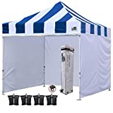 Eurmax 10'x10′ Ez Pop-up Canopy Tent Commercial Instant Tent with Enclosure SideWalls and Roller Bag, Bonus 4 SandBags (Carnival Blue White) For Sale