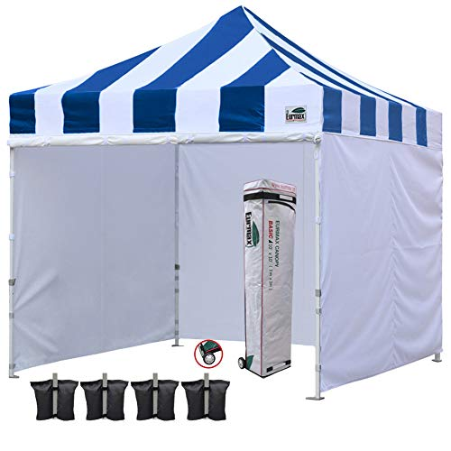 (Eurmax 10'x10' Ez Pop-up Canopy Tent Commercial Instant Canopies with 4 Removable Zipper End Side Walls and Roller Bag, Bonus 4 SandBags(Carnival Blue White))