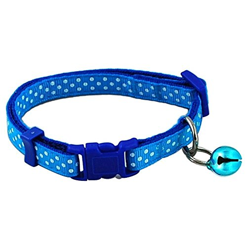 TOOGOO(R) Pet Dog Puppy Cat Collars Fashion Polka Dot Print Adjustable Pet Animals pp Neck Chain With Bell S blue