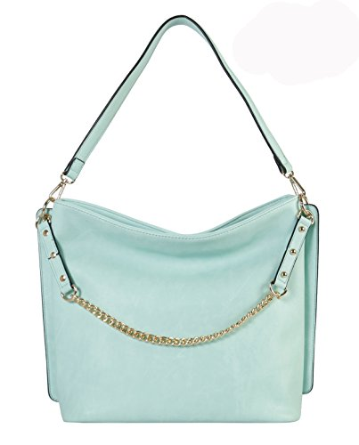 Hobo Leather Patent Large (Diophy PU Leather Chain Strap Decoration Hobo Bag)
