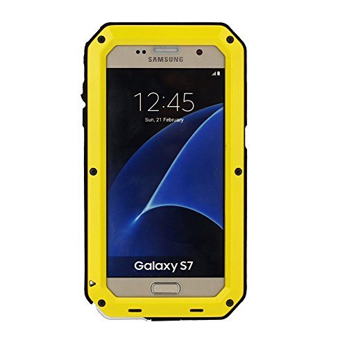 Galaxy S7 Case,Mangix 3C-Aone Gorilla Glass Luxury Aluminum Alloy Protective Metal Extreme Shockproof Military Bumper Finger Scanner Cover Shell Case Skin Protector for Samsung Galaxy S7 (Yellow)