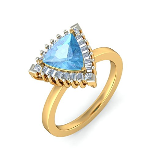 14K Or jaune, 0,34carat Diamant Blanc (IJ | SI) Topaze bleue et diamant Bague