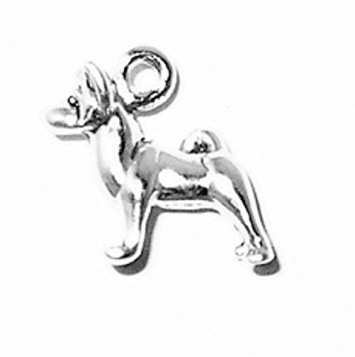 Sterling Silver 3D Small Standing Akita Pet Dog Breed Dangle Charm Bead For Bead Charm Bracelet ()