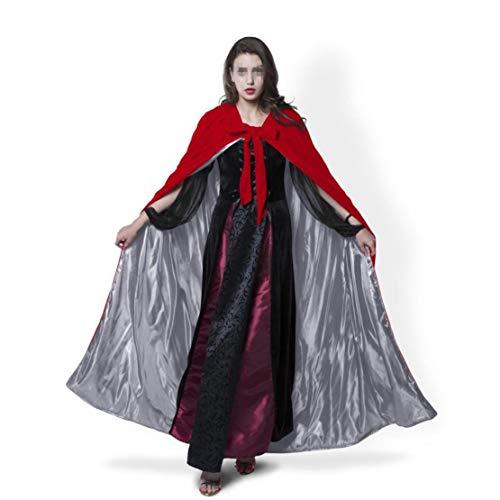 Femmes Lady Girl Kids Longueur Pleine Capuche Velvet Cape Manteau Halloween Chale De No?l Fantaisie Cape Cosplay Costumes (Couleur : Red Brown, Taille : 5XL) Red Gray