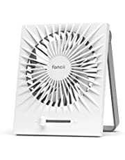 Fancii Portable Desk Fan, USB Rechargeable - Whisper Quiet Personal Desktop Fan with Powerful Turbo Airflow for Home, Office or Travel, 2000 mAh Battery (Brise)