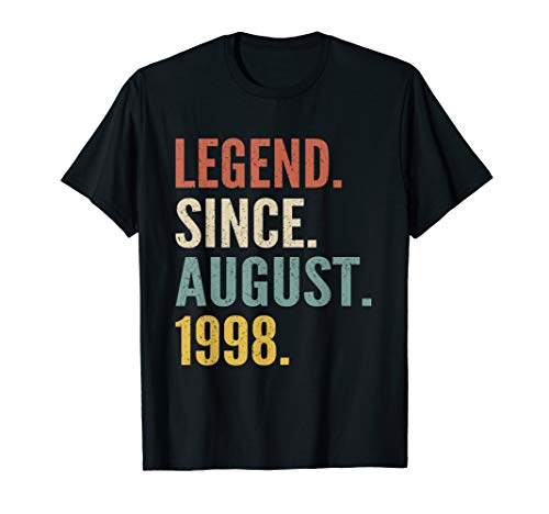 Legend Since August 1998 21st Birthday Gift 21 Years Old Tee (Gift Ideas For 21 Year Old Boy)