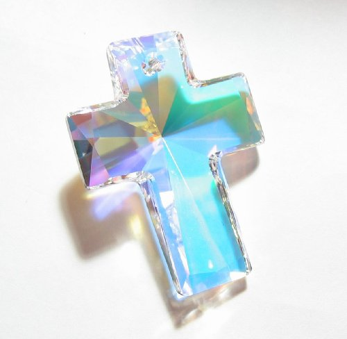 Swarovski Crystal Cross Charm - 1 pc Swarovski Crystal 6864 Huge Cross Pendant Clear AB 40mm / Findings / Crystallized Element