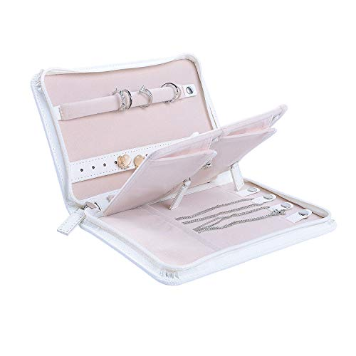 ONLVAN Travel Jewelry Case Travel Jewelry Organizer Zipper Small Jewelry Bag with Removable Panel for Storage (Withe)