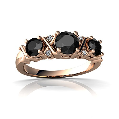 14kt Rose Gold Black Onyx and Diamond 4mm Round Hugs and Kisses Ring - Size 7.5