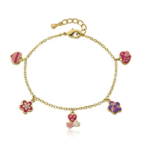 Little Miss Twin Stars Frosted Flowers 14k Gold-Plated Multi Hearts & Flowers Charm Bracelet/ ()