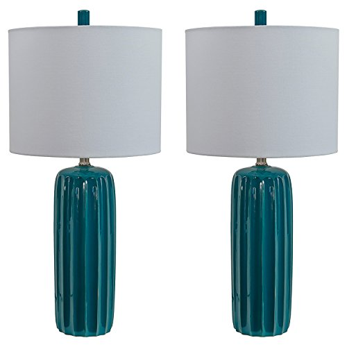 Signature Design by Ashley Adorlee Table Lamp, Set of 2, Teal (Ceramic Set Table)