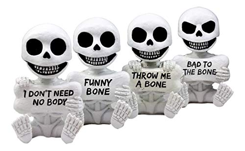 Ky & Co YK Halloween Naughty Bones Skeleton Figurine Set 4