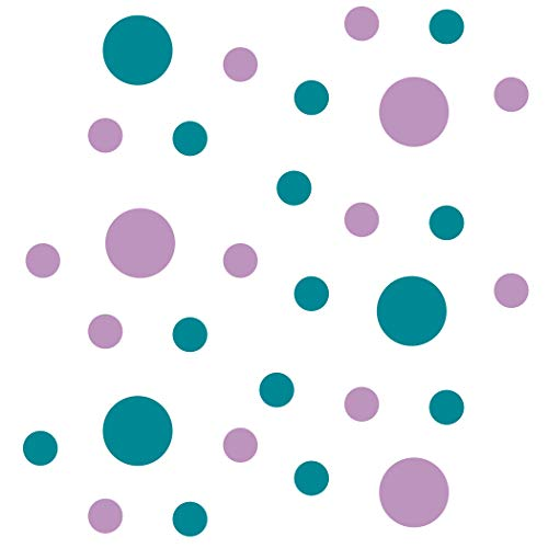 (Set of 30 - Turquoise/Lilac Circles Polka Dots Vinyl Wall Graphic Decals Stickers)
