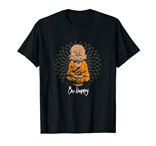 Be Happy shirt Zen Little Buddha tshirt Mandala T-shirt -