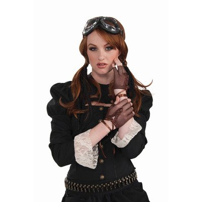 Forum Novelties Women's Steampunk Fingerless Gloves Costume Accessory, Brown, One Size -