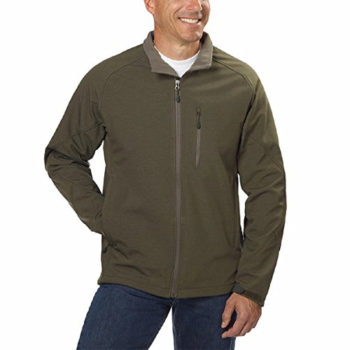 Kirkland Signature Mens Water Resistant 4-Way Stretch Softshell Jacket (XX-Large, Heather Olive) (Stretch Shell Jacket Soft)