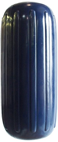 Dock Edge + Inc. Center Hole Dolphin Ribbed Boat Fender (8 x20-Inch, Navy Blue)