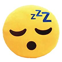 SLEEPING Emoji Pillow Smiley Emoticon Yellow Round Cushion Stuffed Plush Soft Toy(Poop,Pinkpoop,Monkey,Money Mouth,Cat,Heart Eye,Laugh to Tear,Smirking,Throwing Kiss,Tongue,Devil,Nerd)
