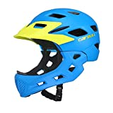 Aiyoyo Kids Bicycle Helmet Full Face Helmet for Bike Motorcycle Children Safety Guard Sports Protective Equipment for Riding Skating ( Blue)