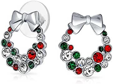 Bling Jewelry Simulated Garnet Simulated Emerald Crystal Christmas Wreath Earrings Silver Plated
