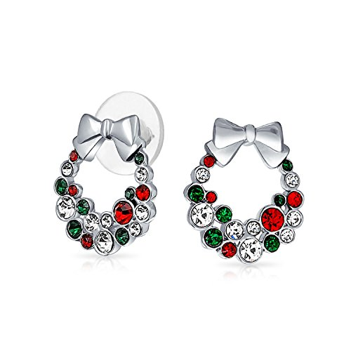 Simulated Garnet Simulated Emerald Crystal Christmas Wreath Earrings Rhodium Plated Alloy