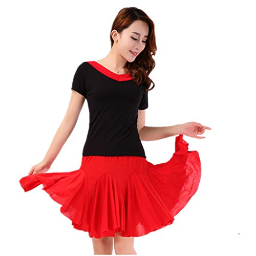 ChicWind Women's Latin Salsa Tango Rumba Dance Dress Casual Square Dance Skirts Costumes Red]()