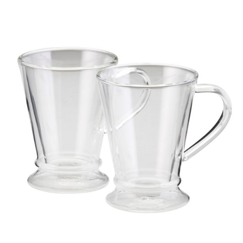 BonJour Coffee Insulated Borosilicate Glass Coffee Mugs, 2-Piece Set, 10-Ounces Each