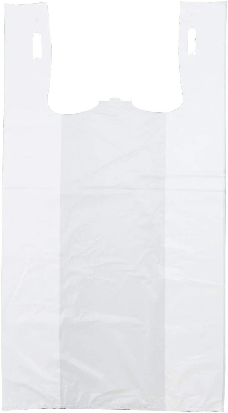 "Plastic Bag-Standard White Plain T-Shirt Bag 11.5""x6.5""x21.5"" 15 mic - 1000 bags/case"