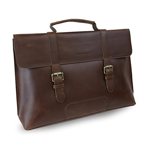 Strongrr Single Piece Brown Professor Briefcase, Vinyl 17-inch Laptop Attach Briefcase, Locking, Business, Laptop, Solid Pattern, Phone Compartment, laptop briefcase 17 (Briefcase Womens Vinyl)