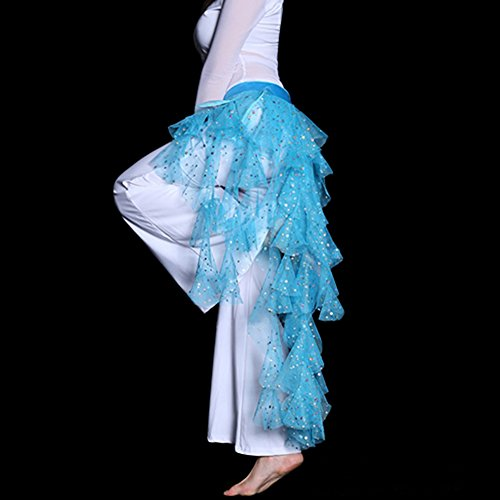 Shineweb Mesh Sequins Belly Dance Hip Scarf , Tribal Egypt Style Belly Dance Skirt ,Fashion Style (Lake Blue)